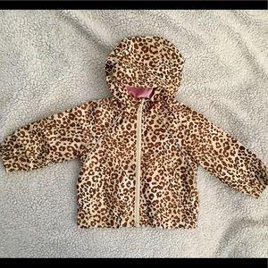 Kids leopard print and lined hoodie jacket